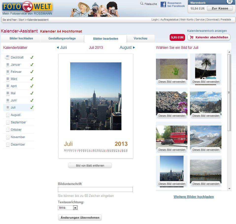 Der Rossmann Fotokalender Editor